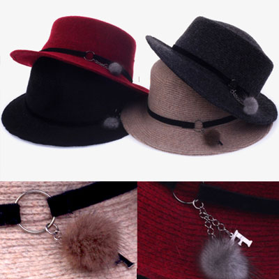 MINI RING POMPOM FELT FEDORA