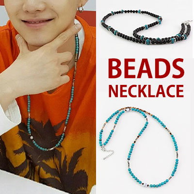 BLUE AND BLACK BEADS NECKLACE/K-POP IDOL BTS style