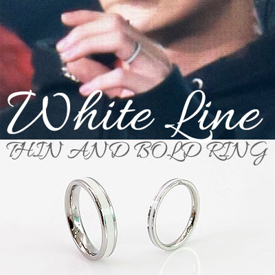 EXO STYLE!SURGICAL STEEL/WHITE LINE THIN AND BOLD RING