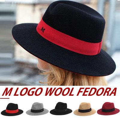 LUXURY STYLE!MODERN,FEMININE LOOK! M LOGO WOOL 100% FEDORA