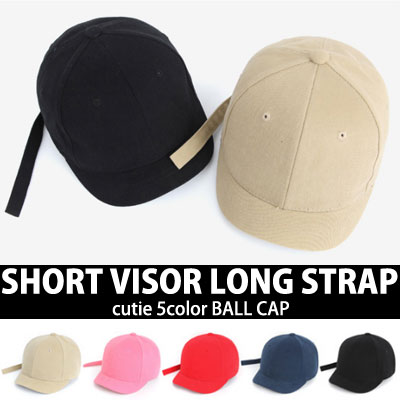 SHORT VISOR LONG STRAP BALL CAP 5COLORS