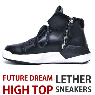 [25.5~28.0cm]BLACK LEATHER FUTURE DREAM HIGH TOP SNEAKERS