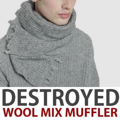 DAMAGED WOOL MIX MUFFLER/pink,grey,navy