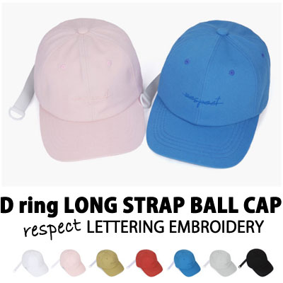 D-ring LONG STRAP BALL CAP respect LETTERING EMBROIDERY