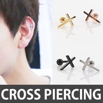 [1ea]GOT 7 STYLE! SIMPLE CROSS PIERCING