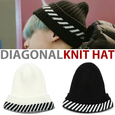 k-pop idol monsta-x st. DIAGONAL LINE KNIT HAT