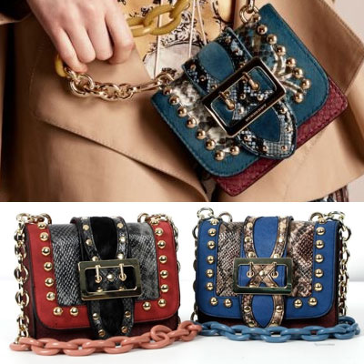 LUXURY st! MINI SQUARE BUCKLE BAG/snake skin pattern