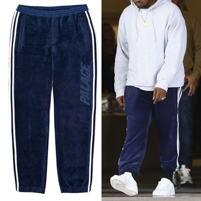 KANYE WEST st.3LINE VELVET JERSEY PANTS/navy,black