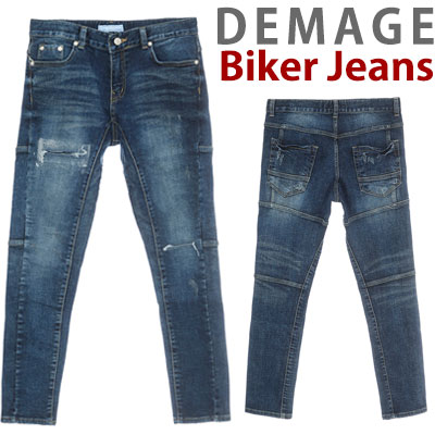 DAMAGE BIKER DENIM JEANS