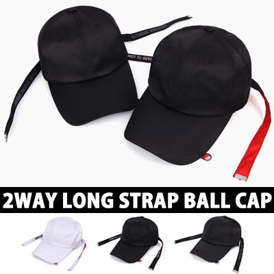 2WAY LONG STRAP BALL CAP UNIQUE LETTERING STRAP