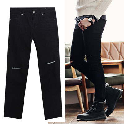 ★KIRANG special price★28~40size/SLIM STRAIGHT KNIFE CUT BLACK JEAN