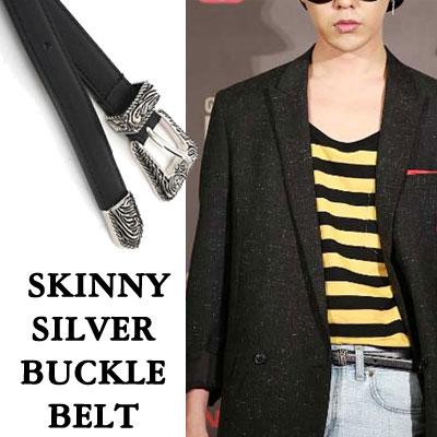 [economic ver.]gd style. SKINNY SILVER BUCKLE BELT/bigbang