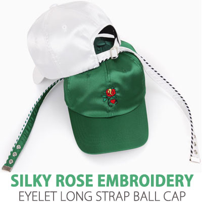 SILKY ROSE EMBROIDERY EYELET LONG STRAP BALL CAP
