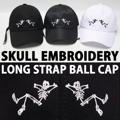 SKULL EMBROIDERY LONG STRAP BALL CAP