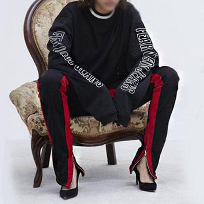[riri zipper]BTS JUNG KOOK st.SIDE ZIPUP DICK RED LINE JOGGER PANTS