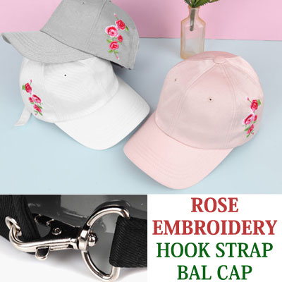 ROSE EMBROIDERY HOOK STRAP BALL CAP