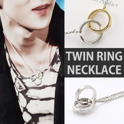 EXO ST! GOLD&SILVER TWIN RING NECKLACE