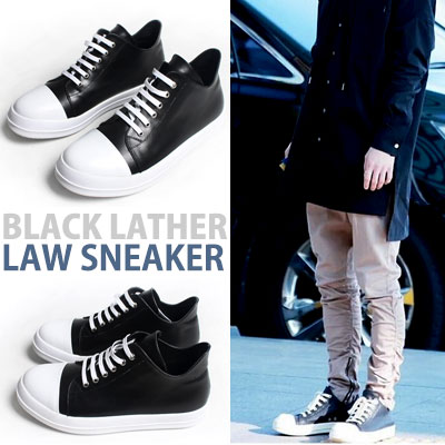[25.0~27.0cm]E.X.O CHEN STYLE!BLACK LEATHER LAW SNEAKER