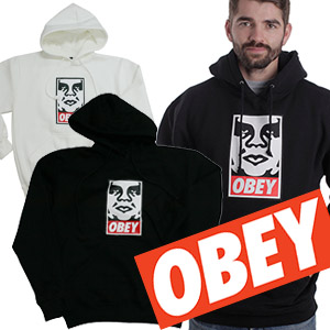 ★DAY SHIPPING★ STREET FASHION popular brands OBEYst.FACE Print Pullover Hoodie (2color, unisex, brushed back)