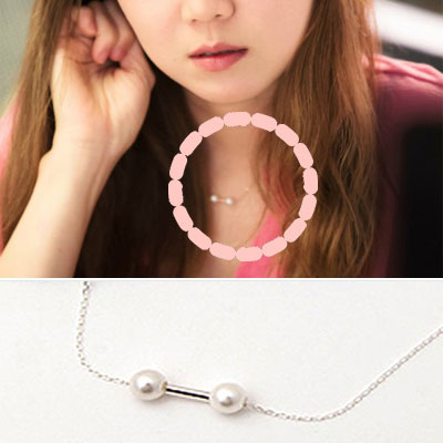 "South Korea popular drama ""okay,'m love."" Heroine of Hyo Jin STYLE Silver Pearl NECKLACE"