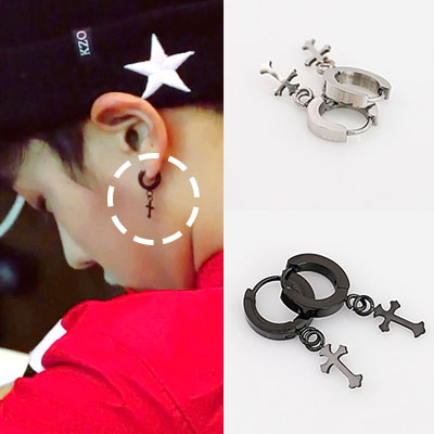 * BEAST Lee Gi-kwang STYLE Cross touch earrings (2color) cross one touch pierce
