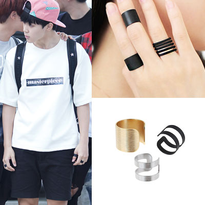 ★ The famous - even Bangtan Boys favorite style ★ simple bold ring 2 piece set (3color) # lord sun heroine Kong Hyo Jin wear style!