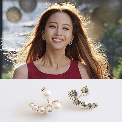 "Korea Drama Fashion ☆ actress Han Ye Seul starring drama ""The Birth of beauty"" items! Uptown girl style earring"