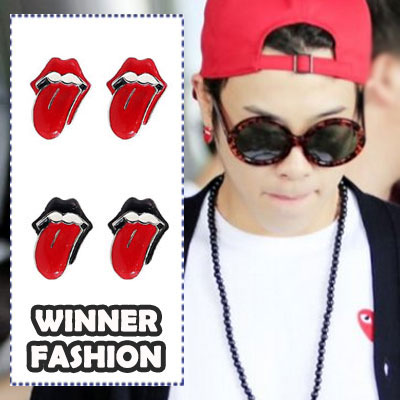Kpop idol WINNER Fashion Items | popular design of R @ lling lip earrings (pair)