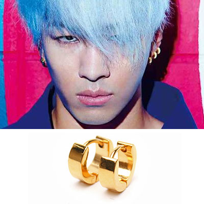 BIGBANG style goods | Big Bang Taeyang (Sol) fashion magazine items worn style !! Surgical steel material simple gold ring earrings (pair)