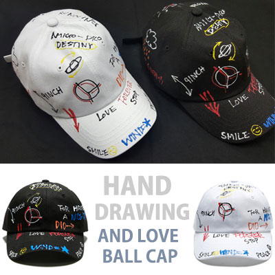 HAND DRAWING PEACE AND LOVE BALL CAP