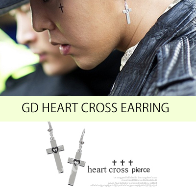 K-POP IDOL STAR GD & TOP fashion style ★ Metal heart cross pierce