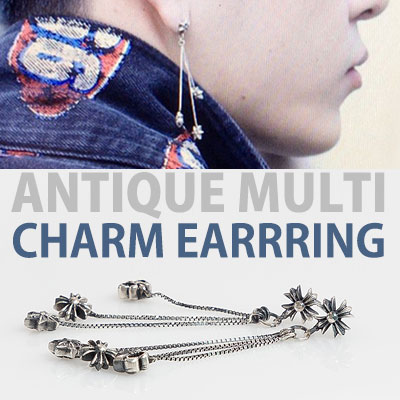 [1EA]Highlight Yong jun hyung st! ANTIQUE MULTI CHARM EARRING
