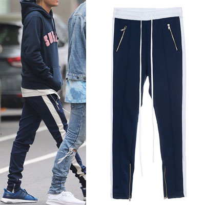 [NAVY COLOR]JUSTIN BIBER ST. DICK WHITE LINE SIDE ZIPUP TRACK PANTS