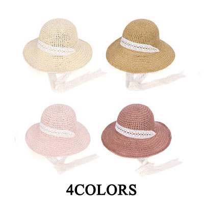 Lace band bucket hat / straw hat / Panama hat / floppy hat