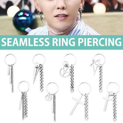 [1ea]SEAMLESS RING DROP CHAIN CHARM PIERCING/gd style/bigbang