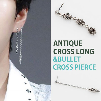 [1ea]VIXX LEO STYLE!ANTIQUE CROSS LONG & BULLET CROSS PIERCING