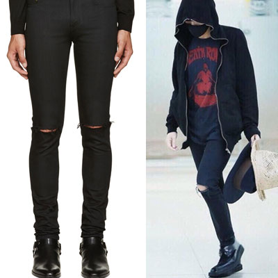 30%sale! 10137->6082円 K-POP IDOL BEST ITEM! ONE KNIFE DAMAGE BLACK DENIM JEANS