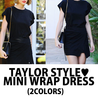 TAYLOR STYLE! MINI WRAP DRESS(BLACK&GREY)