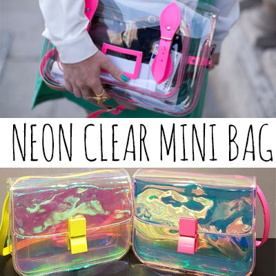 NEON CLEAR MINI CROSS BAG/PINK,YELLOW