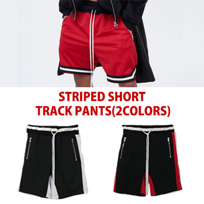 STRIPED SHORT TRACK PANTS(BLACK/RED)
