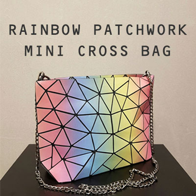 RAINBOW PATCHWORK MINI CROSS BAG