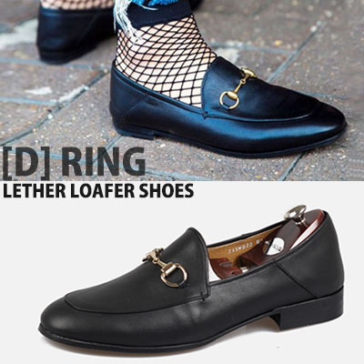 [UNISEX][24.0~28.5cm]WIDTH&INSOLE'POSSIBLE TO CUSTOMIZE ORDER'★GOLD [D]RING CHARM LEATHER LOAFER SHOES