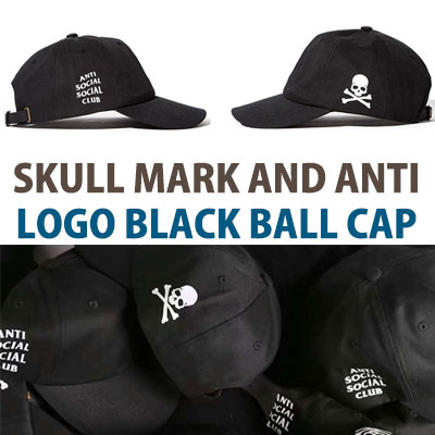 SKULL MARK AND ANTI LOGO BLACK BALL CAP