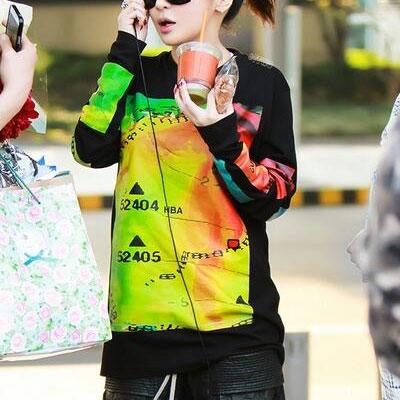 "[50%OFF]Pakubomu of TV program ""roommate"" 2NE1, HB Imin'u of Shinhwa has worn * st color paint long sleeves (2color)"