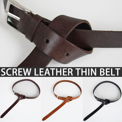 SCREW LEATHER SIMPLE THIN BELT
