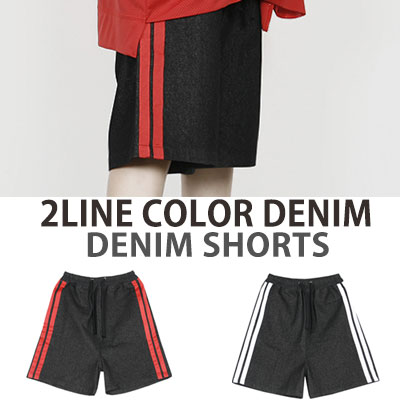 2LINE COLOR DENIM SHORTS PANTS
