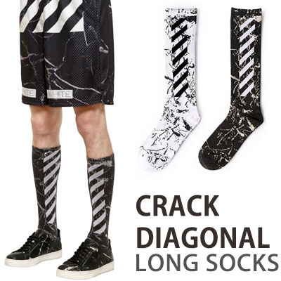 CRACK DIAGONAL LONG SOCKS/2COLOR