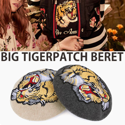 BIG TIGER PATCH WOOL BERET/4COLORS