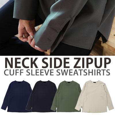 NECK SIDE ZIPUP CUFF SLEEVE SWEATSHIRTS/4COLORS
