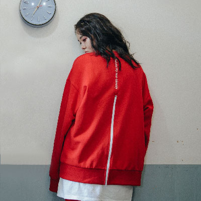 【2XADRENALINE】Zipper Back Point Sweat Shirt - Red